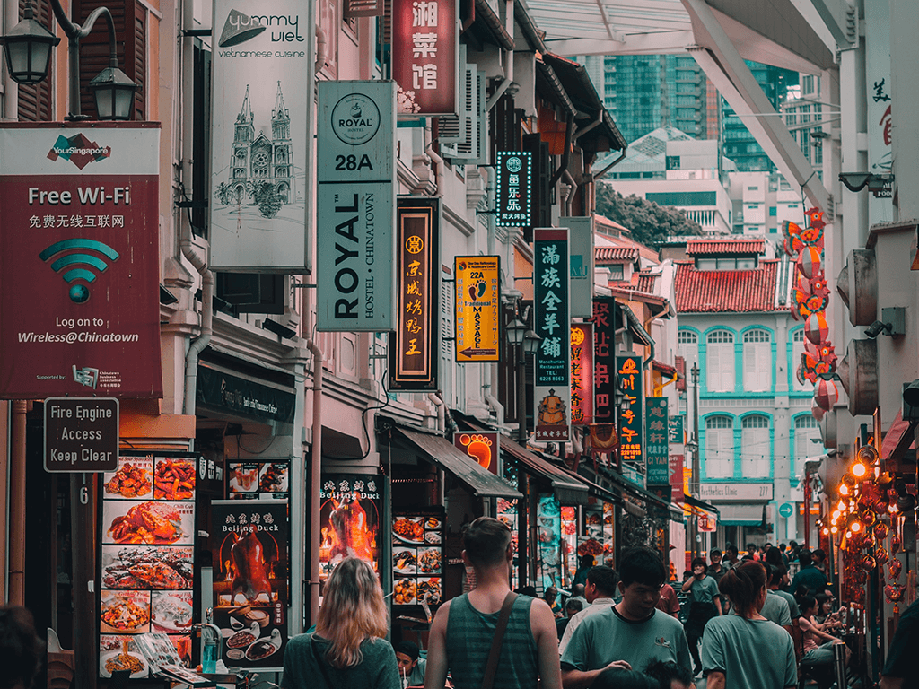 Signboards Along The Street of Chinatown, Singapore